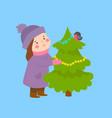 girl and christmas tree banner web format vector image