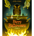 halloween - witch cooks poison potion in cauldron vector image