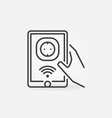 hand holding tablet with smart socket vector image vector image