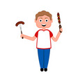 happy boy with a sausage and a skewer vector image vector image