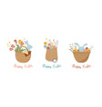 happy easter vintage style easter rattan baskets vector image vector image