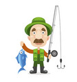happy fisherman character hold big fish vector image vector image
