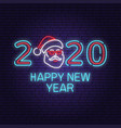 happy new year 2020 neon sign with santa claus vector image vector image