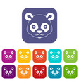 head of panda icons set vector image vector image