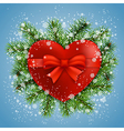 heart in fir branches and snow vector image vector image