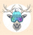 hipster animal deer in winter hat and snowboard vector image vector image