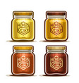 honey in glass jars vector image vector image