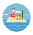 lighthouse house sea ocean cartoon style card vector image