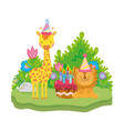 little lion and giraffe with party hats vector image vector image