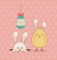 little rabbit and chick with egg painted easter vector image vector image