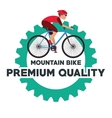 Man riding bike inside gear design vector image