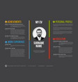 minimalist cv resume template vector image vector image
