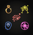 neon valentine day icon set in line style vector image vector image