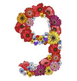 nine digit made of different flowers floral vector image