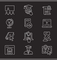 online education icon set isolated vector image vector image