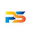 p s simple modern logo designs vector image