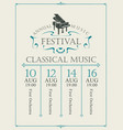 poster for annual festival classical music vector image