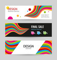 set bright banners with color line on white and vector image vector image