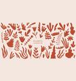 set exotic palm leaves plants flowers vector image