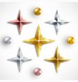 set golden realistic stars and balls vector image
