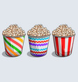 set striped boxes container with tasty vector image vector image