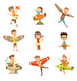 small children in pilot costumes dreaming vector image vector image