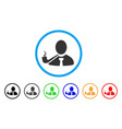 smoking detective rounded icon vector image vector image