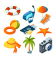 summer travel isometric pictures set vector image vector image