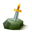 sword stuck in stone cartoon style vector image