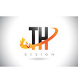 th t h letter logo with fire flames design vector image vector image