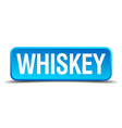 Whiskey blue 3d realistic square isolated button vector image vector image
