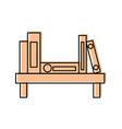 wooden bookshelf folder book literature office vector image