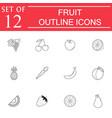 fruits line icon set organic vegetarian food vector image