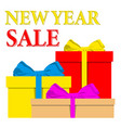 newr yea sale poster with pile of colorful wrapped vector image