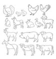 outline figures of farm vector image