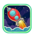 App icon with flying rocket ship vector image vector image