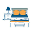 bedroom with lamp over nightstand color section vector image vector image