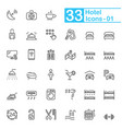 black hotel line icons vector image vector image
