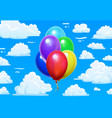 bunch balloons in clouds cartoon blue cloudy sky vector image