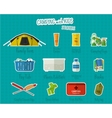 Camping with kids stickers and labels Set of flat vector image vector image