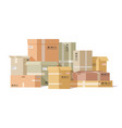 cardboard boxes stacked carton box pile fragile vector image