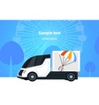 cargo van or truck driving on road parcel box with vector image