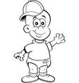cartoon baby wearing a baseball cap while waving vector image vector image