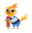 chicken kid at school cartoon bird holding pencil vector image vector image
