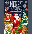 christmas holiday santa and gifts bag vector image