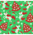 Christmas seamless pattern horse vector image