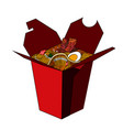 color sketch of chinese food in a box vector image