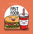 delicious burger with soda kawaii character vector image vector image