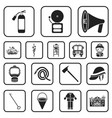 fire department black icons in set collection for vector image