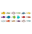 fish icon set color outline style vector image